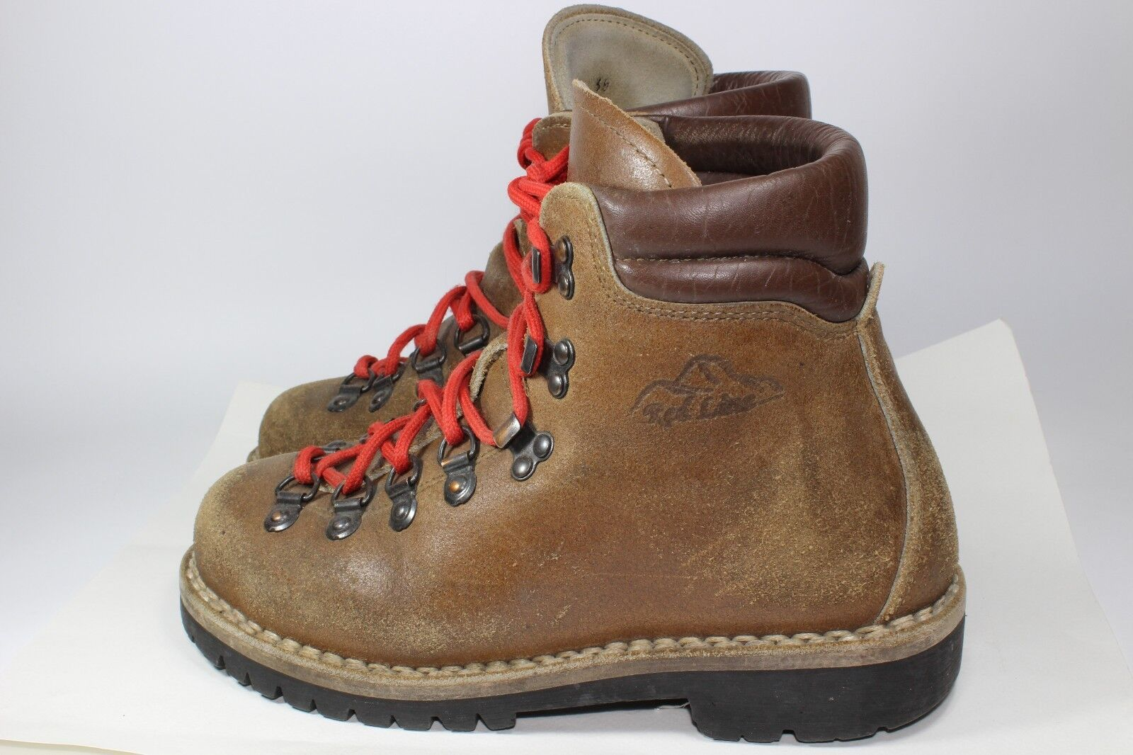 Alpin Hiking Mountaineering Leather Boots Vintage Rare Red Line Euro size 38