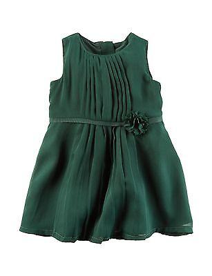 NWT $40 Carters 2-Pc Dark Green Chiffon Dress Party Holiday Wedding 6 or 9 Mo.