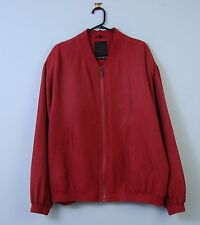 Vintage Silk Bomber Jacket in Red Paolo Negrato 90s XL X-Large EU 54