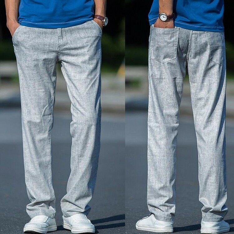 Mens Summer Casual Loose Fit Cotton Linen Straight Pants Trousers Plus Size A038