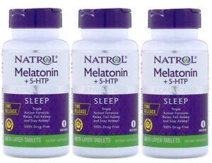 Natrol Melatonin + 5-HTP,6 mg Advanced Sleep Aid,180 Bi-Layer Tablets(3 Bottles)