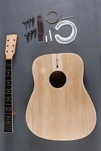 make your own full size 6 string d dreadnought acoustic guitar diy kit ebay. Black Bedroom Furniture Sets. Home Design Ideas