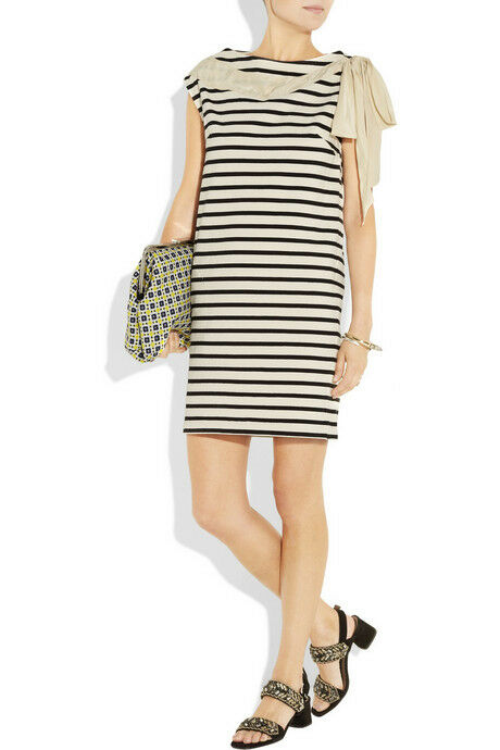 NEW Designer Rochas Striped Red cream off white mix cotton Dress Size 40 Ruffle
