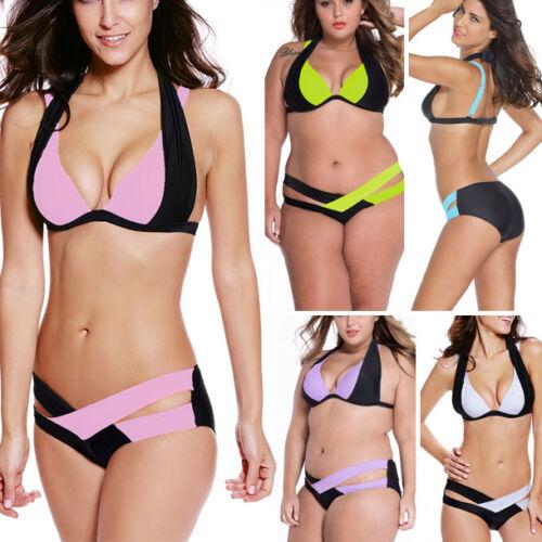 Women/'s Bikini Swimwear Color Block Padded Cutout Bathing Suit Swimsuits XL-3XL