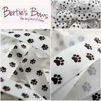 Bertie's Bows Paw Print 9 & 16mm Grosgrain Ribbon -1m & 3m Cut Length / 25m Roll