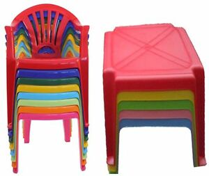 Strong Children Kids Plastic Table and Chairs Nursery Set ...