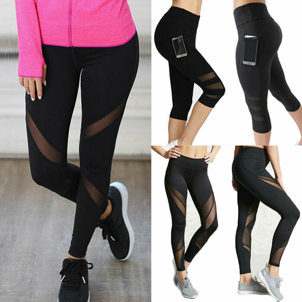Womens Sports Mesh YOGA Pants Workout Gym Fitness Gym Leggings Jumpsuit Athletic