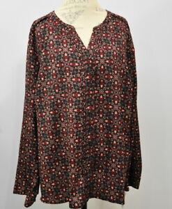 Croft-amp-Barrow-Long-Sleeve-Hidden-Button-Top-Size-3X-Women-039-s-Floral-blouse-NWT