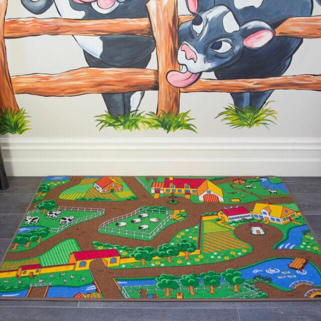 Kids Farm Animal Country Toy Map Floor Mat Rug for Girls Boys Children  Bedroom