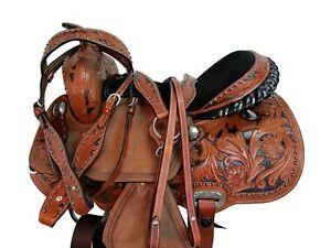 DEEP SEAT WESTERN SADDLE BARREL RACING HORSE PLEASURE TOOLED LEATHER TACK 15 16