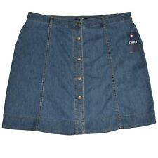7ecb25e5c Chaps Jeans Skirt Womens Plus 18 W Blue Denim Button Up Front Stretch Shore  Wash