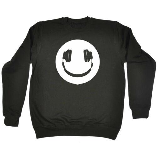 Headphone Dj Smile Funny Kids Childrens Sweatshirt Jumper