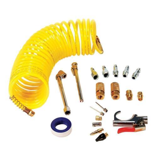 Primefit Air Compressor Accessory Kit 25 feet Hose 20 Piece Gauge Needle Nozzle