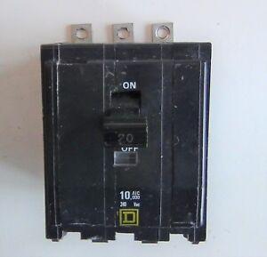 Square D type QOB bolt on 3 pole 20 amp breaker 240 volt