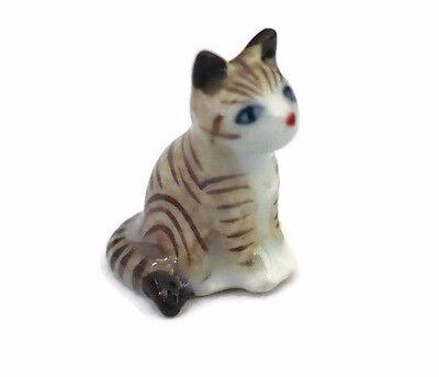 Tiny Brown//White Striped Cat Dollhouse Miniature Ceramic Animal Figurines