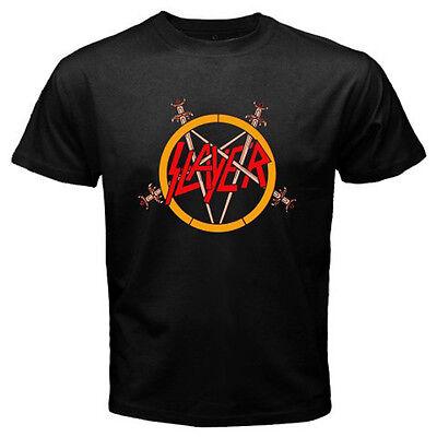 New SLAYER Pentagram Logo Heavy Metal Rock Band Men's Black T-Shirt Size S-3XL