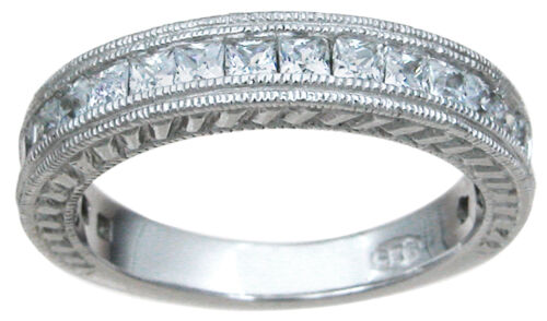 Sterling Silver 1Ct Princess Cut Cz Wedding Band Ring Antique Style Sz 5-9