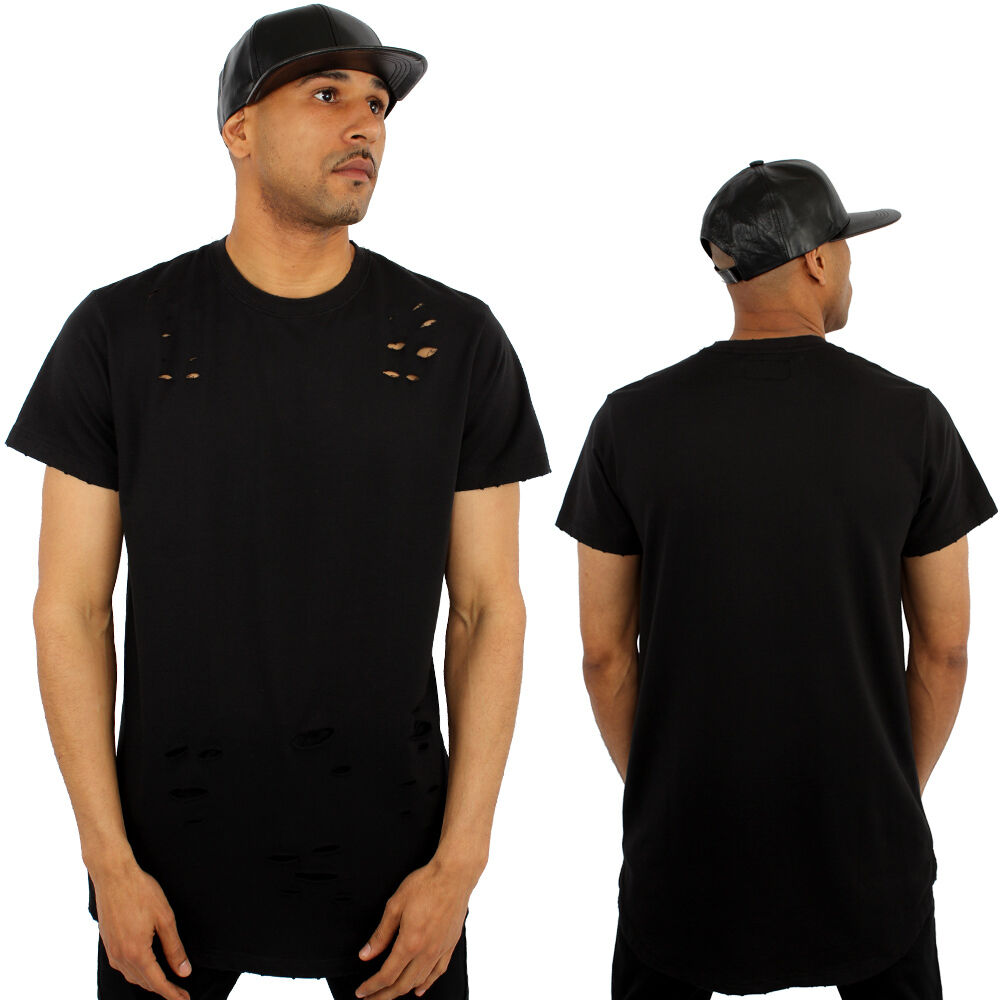 Kanye Terry Zerrissen langer Schwanz T-Shirt Streetwear schwarz | | | Verpackungsvielfalt  366e2c