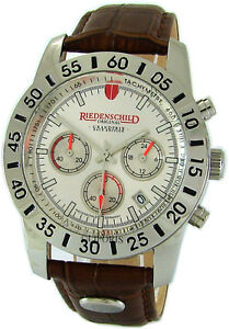 Riedenschild Quartz Steel Chronograph Mens Watch Rallye Leather Band