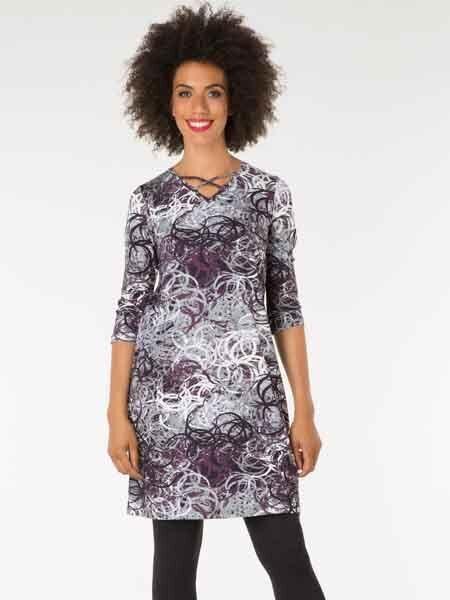 -20% Jersey Kleid Von Yest, Gr. 36 Und 48 Jersey Elastisch Aubergine Grau Neu GroßE Auswahl;