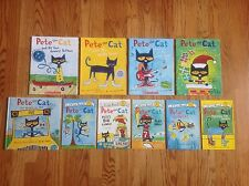Lot 10 PETE THE CAT Books & Readers by James Dean 1 HC Wheels on the Bus & More!