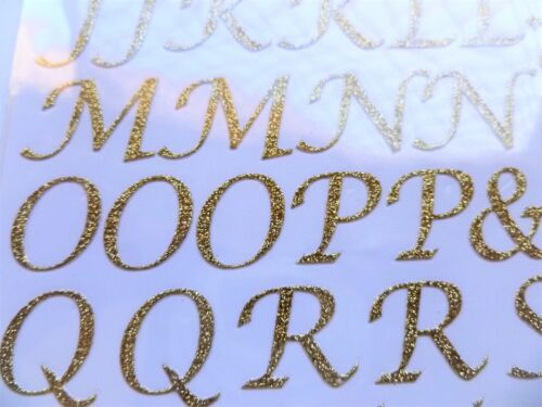 Alphabet Gold or Silver 1.5cm Tall 15mm Glitter Script Letters or Numbers