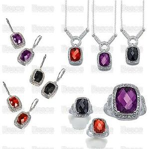 MONACO-NIGHTS-avon-NECKLACE-EARRINGS-RING-silver-tone-PURPLE-BLACK-RED-gift-SET