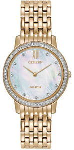Citizen-Eco-Drive-Women-039-s-EX1483-50D-Crystal-MOP-Dial-Rose-Gold-Tone-29mm-Watch