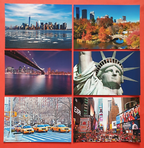Collection-of-6-New-Glossy-New-York-City-NYC-USA-Postcards-by-Cavalier-94G