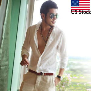Men-039-s-Ultra-Thin-Light-Washed-Cotton-Linen-Blend-Sleeve-Bands-Shirts-Embellished