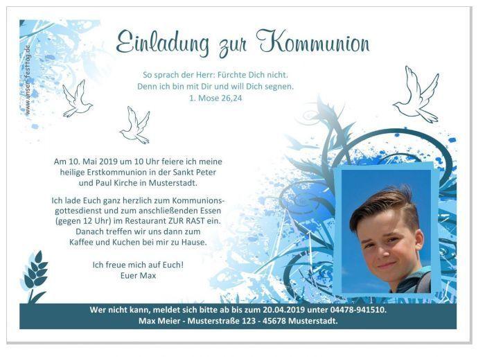 Einladungskarten Kommunion Einladungen Jungs mit Foto (oder ohne) - Wunschtext