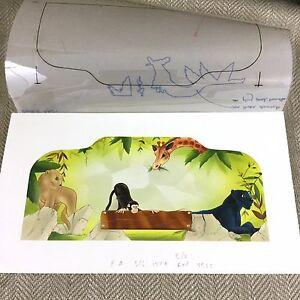 Original-Children-039-s-Book-Illustration-Artwork-Painting-The-Jungle-Book-Monkey