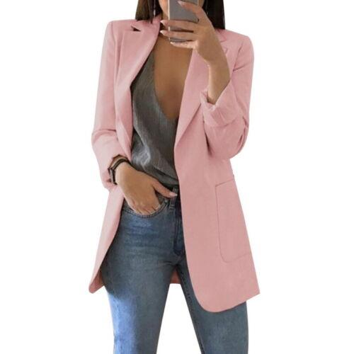 Women Casual Lapel Blazer Suit Jacket Coat Long Sleeve Slim Cardigan Outwear Top