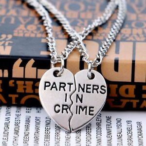 2PCS-Chic-Heart-Partners-In-Crime-Best-Friends-BFF-Chain-Silver-Necklace-Pendant