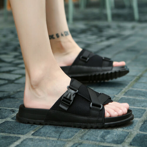 Summer Men Beach Slippers Shoes Walking Sports Slip on Flats Breathable Casual B