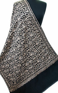 Black-Crewel-Embroidered-Paisley-Wool-Shawl-Creamy-White-Embroidery-Pashmina