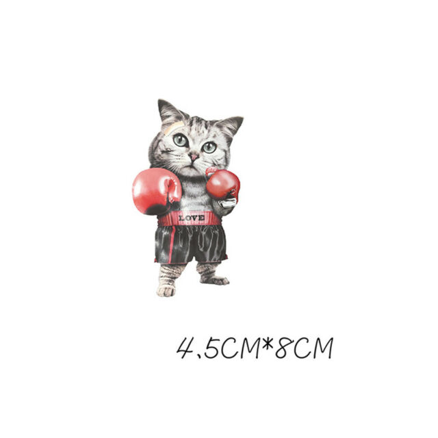boxing cat ironing sticker heat transfer iron on patch for clothing applique M/&C