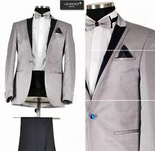 *427* Hochzeitsanzug - 6-teiliger Smoking Herrenanzug Anzug in Silber Grau Gr.48