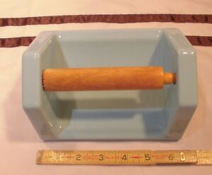 Vintage Blue Glossy Ceramic Toilet Paper Holder With Wood Roller