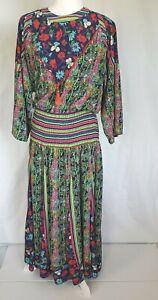 Vintage-Diane-Freis-Georgette-Multicolor-Floral-Maxi-Dress-Small-Medium-80s
