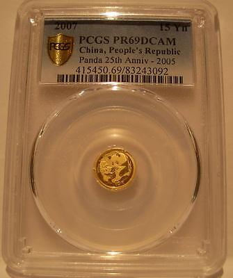 Coins & Paper Money Asia China 2007 2005 Design Gold 1/25 Oz Panda 25thanniversary 15 Yuan Pcgs Pf-69dcam