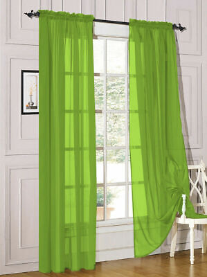 Sold In Pairs Lime Green Sheer Voile Slot Top Rod Pocket Voile Net Curtain Panel Ebay