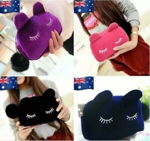 Flannel-Kitty-Cat-Portable-Makeup-Pouch-Cosmetic-Travel-Bag-Storage-Clutch-Puff