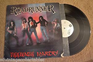 ROADRUNNER-Teenage-Warcry-Private-Metal-Glam-w-insert-RECORD-LP-VG
