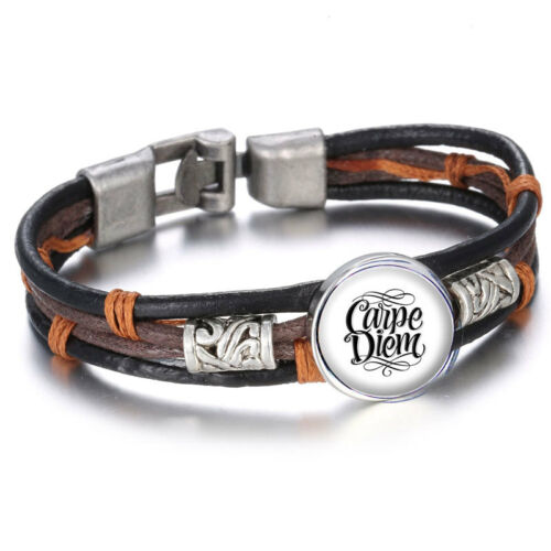 carpe diem bracelet cuir brun et noir breloques