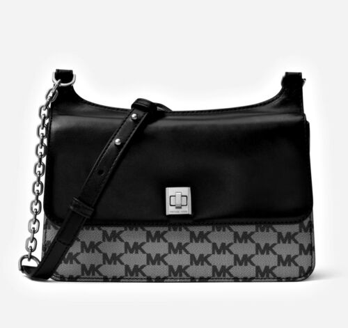 84112bebe2b34b Michael Kors Bag Natalie Medium Heritage Signature Logo Messenger Black New