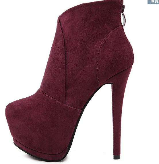 Womens Ankle Boots High Heels Round Toe Riding Boots Platform Suede shoes