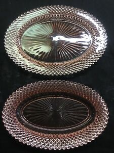 Two-Anchor-Hocking-Depression-Glass-Pink-Miss-America-12-amp-10-Oval-Platters
