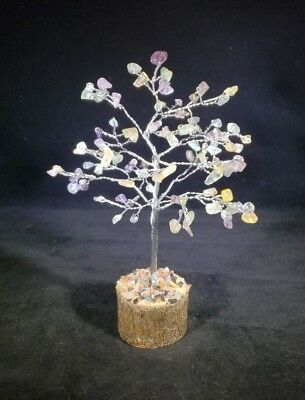 NATURAL FLUORITE GEMSTONE CHIP TREE WITH 150 STONES CRYSTAL TREE OF LIFE