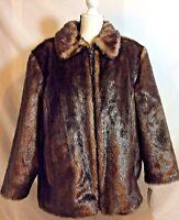 Fur Faux Pamela Mccoy Midi Coat Jacket 1x Dark Rich Brown Mink Style 1959800